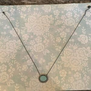Jewelry - Light blue stone necklace with crystal border